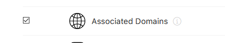 Screenshot of Associated Domains option in Developer Portal