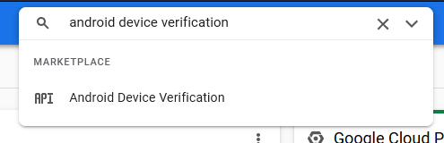 Screenshot of Google Cloud Console Android Device Verification search in Marketplace