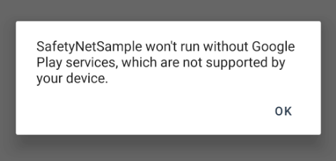 Screenshot of Save dialog showing error about Google Play Services missing on device